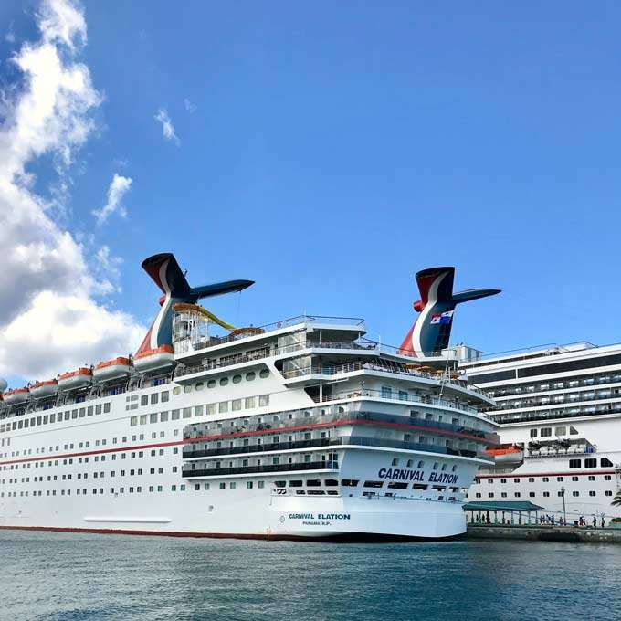Carnival Elation cruise ship in port in Bahamas
