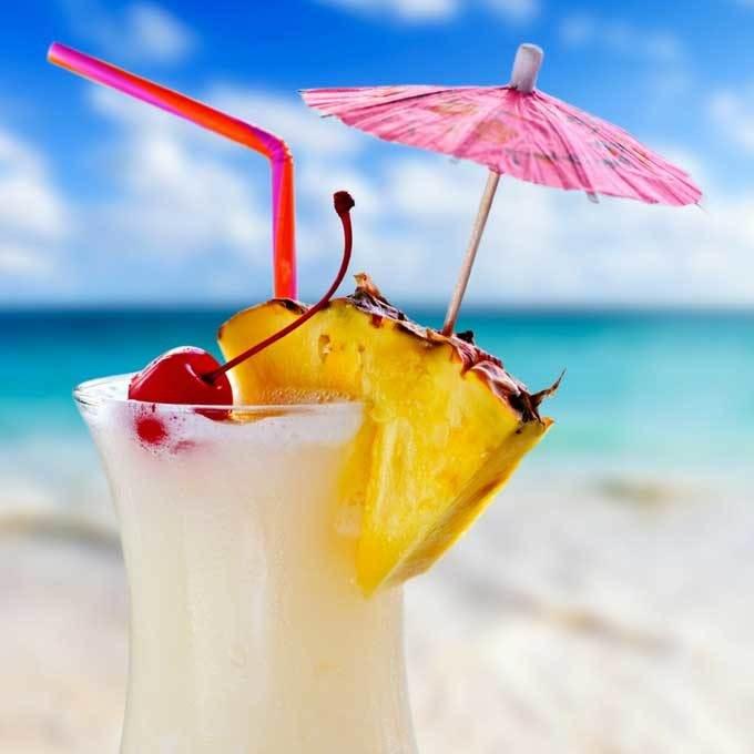 pina colada at the beach