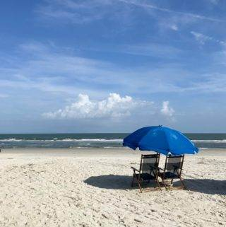 Hilton Head Island beach chairs and umbrella