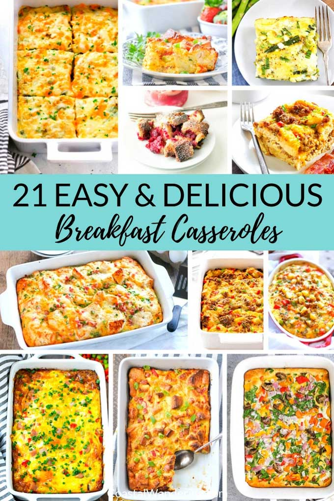 Looking for a delicious and easy breakfast idea? Try these 21 breakfast casserole recipes! Whether you love hash browns, tater tots, sausage, bacon, or something a little sweeter like french toast, this recipe round-up has you covered! The crockpot casserole recipes are especially handy for big holiday events like Christmas morning! #coastalwandering #breakfastcasseroles #breakfastidea #easyrecipes #frenchtoast