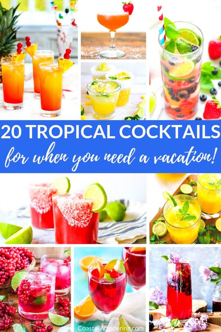 These 20 fun tropical cocktails are the perfect remedy when you're missing the sand and sun. If you're on the hunt for Margarita, Mojito, Hurricane, Mai Tai, Blue Lagoon, Sangria or Painkiller recipes, then you're certainly in the right place! Try these easy island-inspired cocktail recipes for a mini-vacation that reminds you of your favorite beach getaway. #tropicalcocktailrecipes #easycocktailrecipes