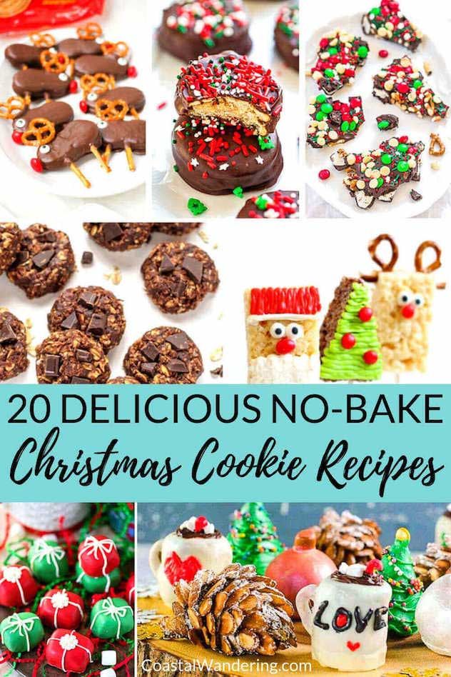 No matter whether you're looking for a unique Christmas cookie or something a little more traditional, here are 20 easy and delicious no-bake Christmas cookie recipes to satisfy your taste buds. From no-bake sugar cookies, candy cane cookies, and even a few healthy no-bake cookie recipes, we have you covered for your Christmas cookie exchange. And if bark, bars, or truffles are more your style, there's a no-bake recipe for those also! #nobakecookierecipe #christmascookierecipes