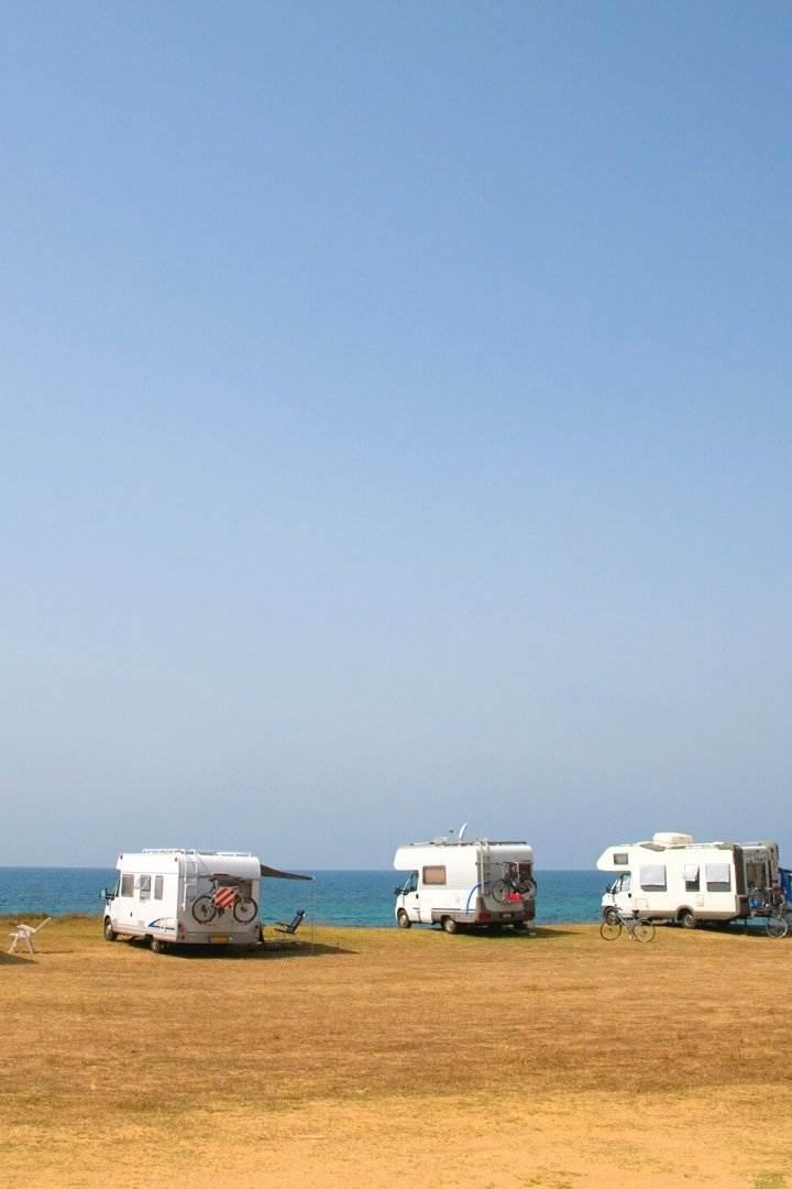 RV camping at the beach
