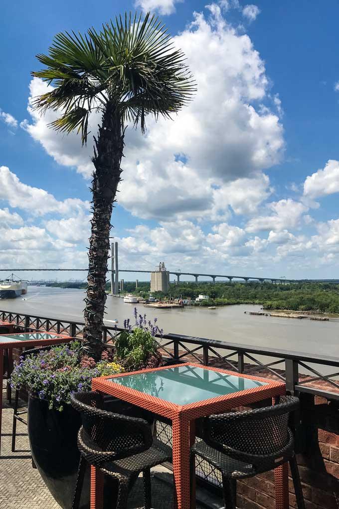 Rooftop bar overlooking the Savannah River and Talmadge Memorial Bridge