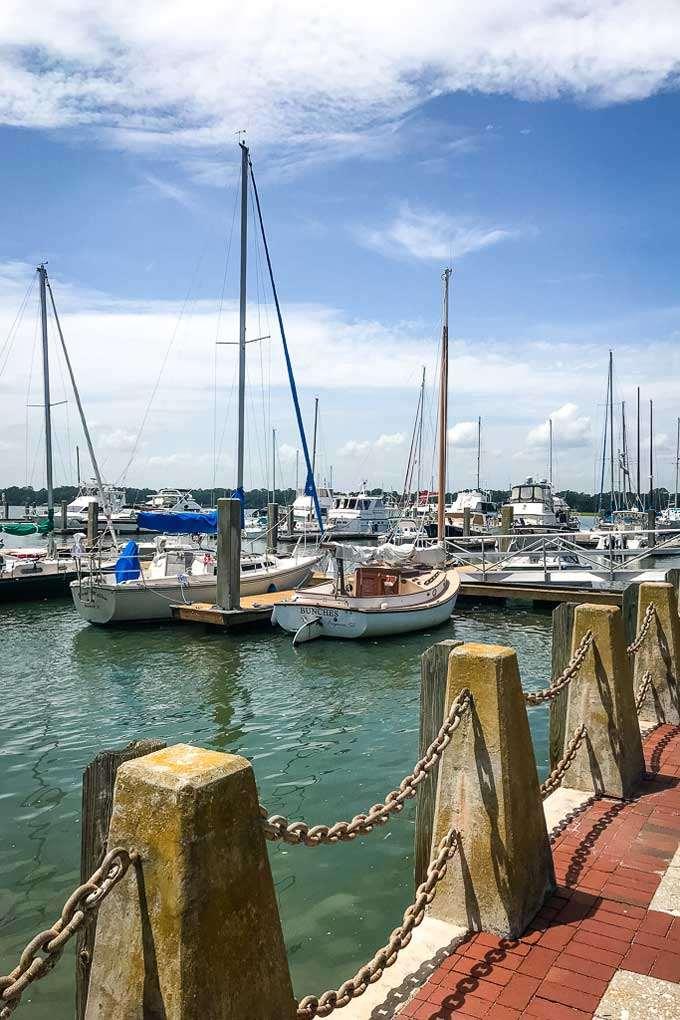Sailboats at Waterfront Park Marina in Beaufort, SC