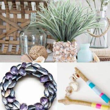 DIY seashell vase, oyster shell wreath, driftwood rattle