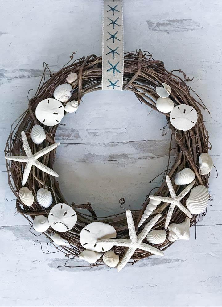 twig and seashell wreath Indoor or outdoor wreath. Seashell wreath colorful sea shell wreath ocean beach decor beach house decor