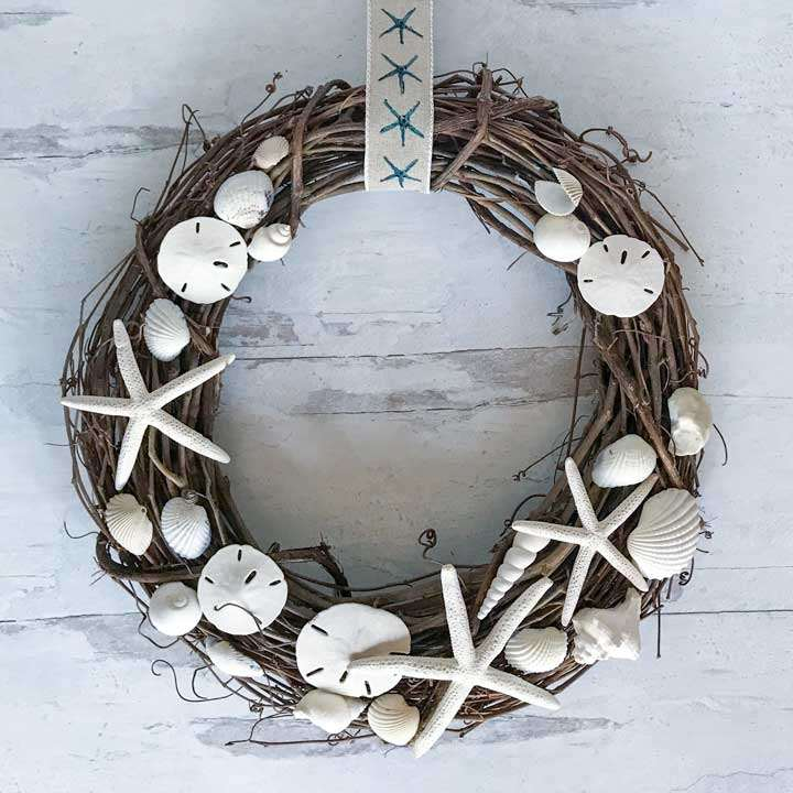 Seashell and grape vine wreath