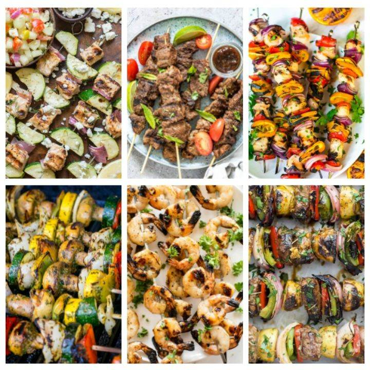 BBQ skewers with meat, vegetables and shrimp
