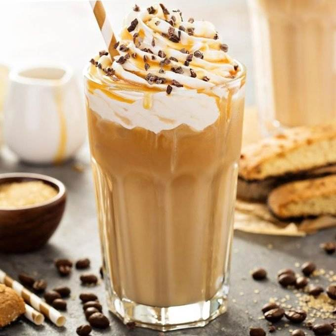 Iced coffee with whipped cream and caramel