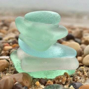 Sea glass on beach