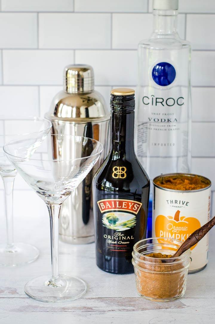 Martini glass, cocktail shaker, vodka, Baileys, spices