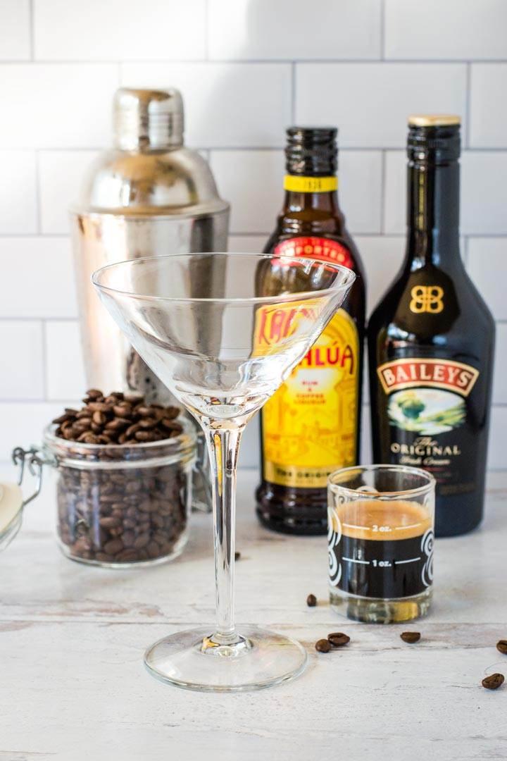 Coffee beans, cocktail shaker, martini glass, Kahlua, Baileys, espresso