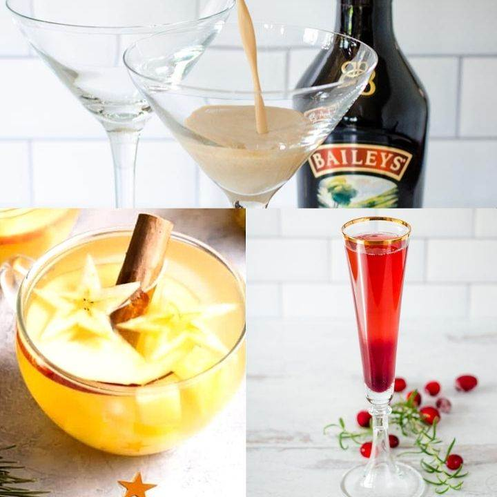Baileys martini, Christmas punch, champagne cocktail