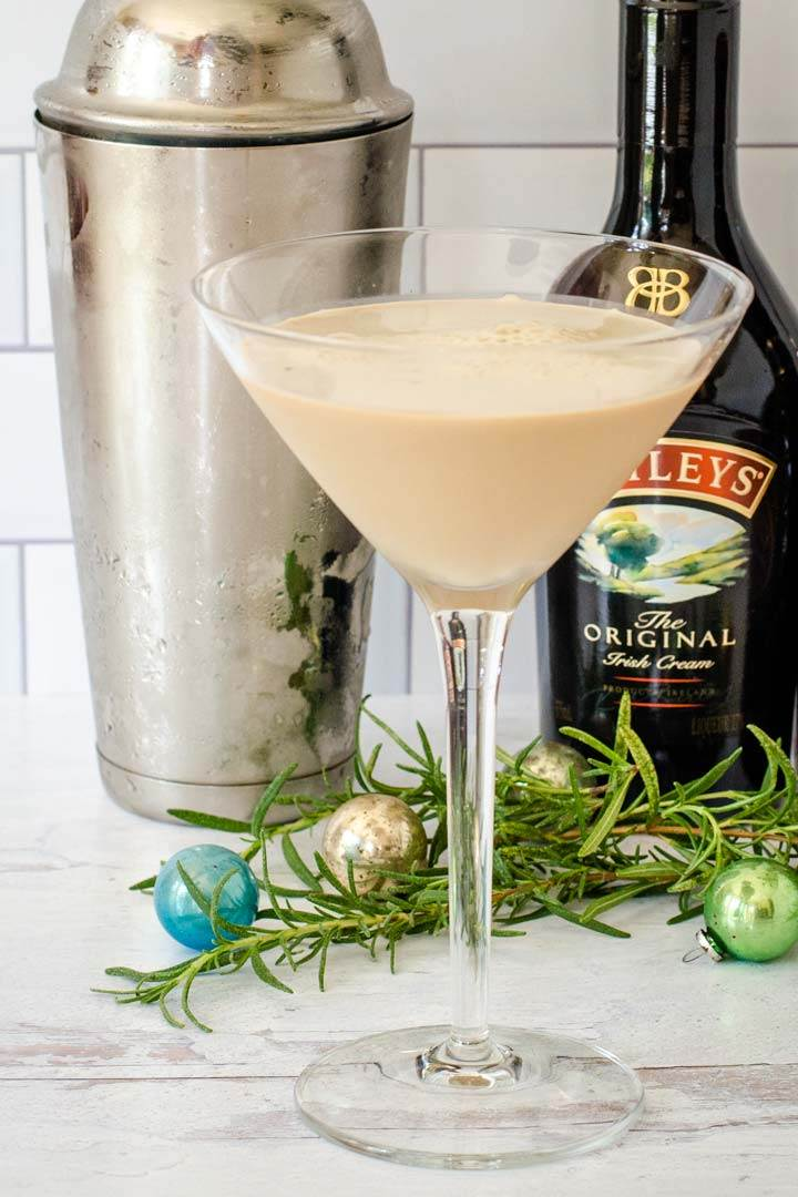 Holiday martini cocktail with Baileys