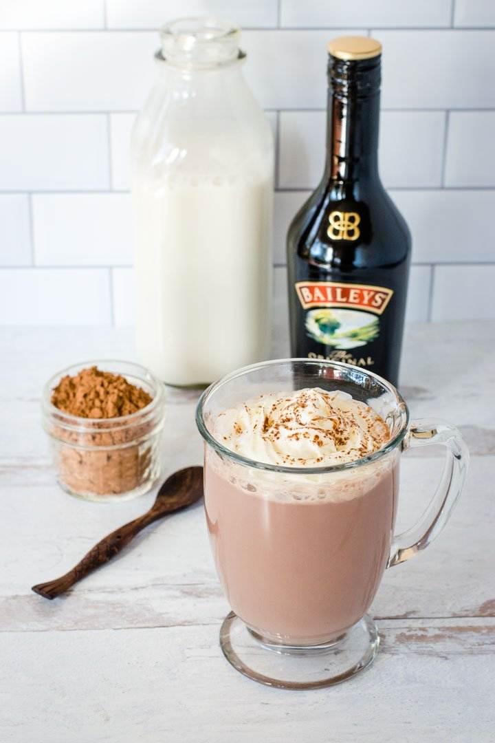 Baileys, cacao powder, milk, hot chocolate