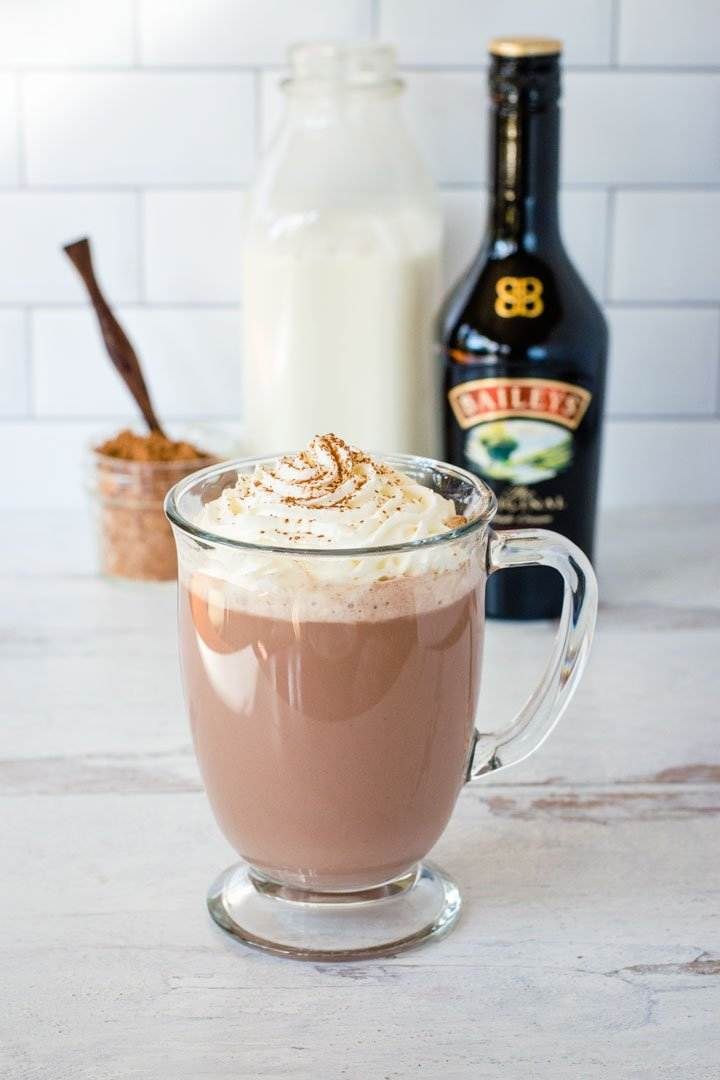 Hot chocolate with Baileys and whipped cream