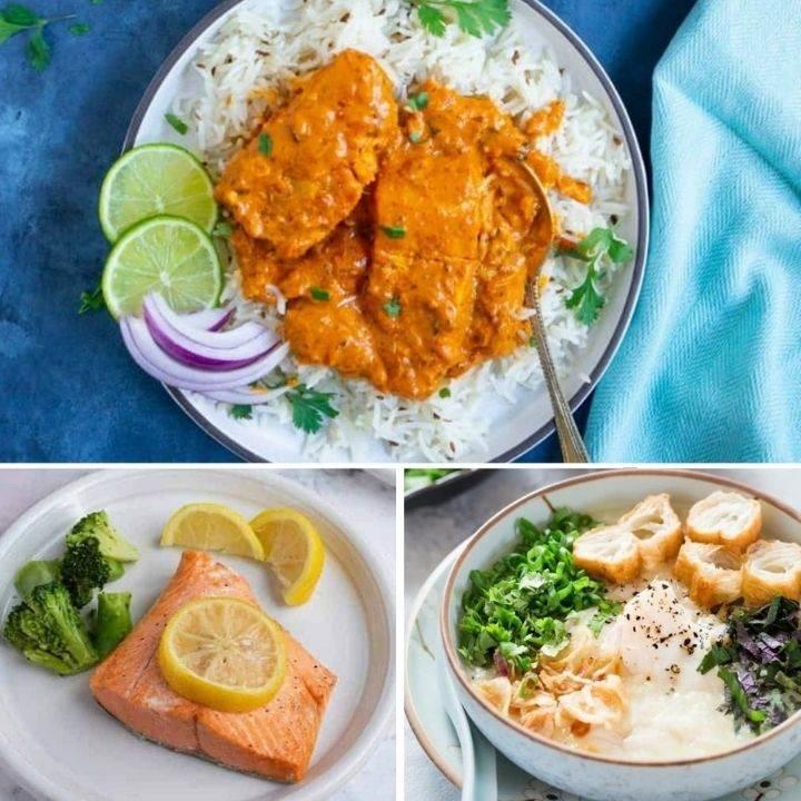 Salmon tikka masala, salmon and broccoli, fish congee