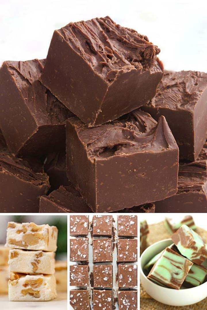 Chocolate fudge, nut fudge, mint fudge