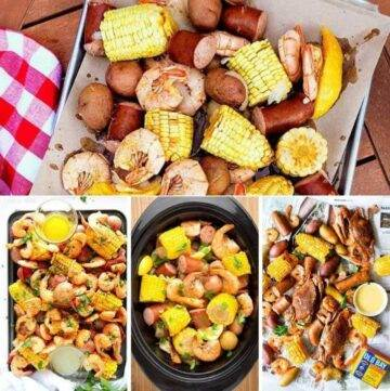 seafood boils with shrimp, sausage, corn and potatoes