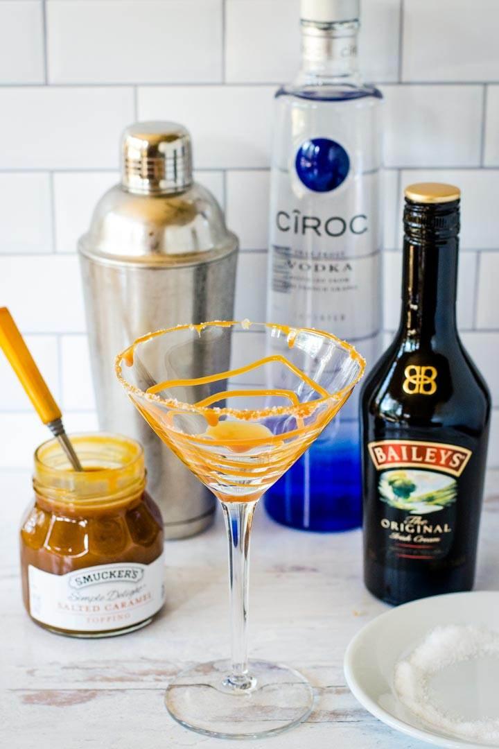Caramel swirl in cocktail glass