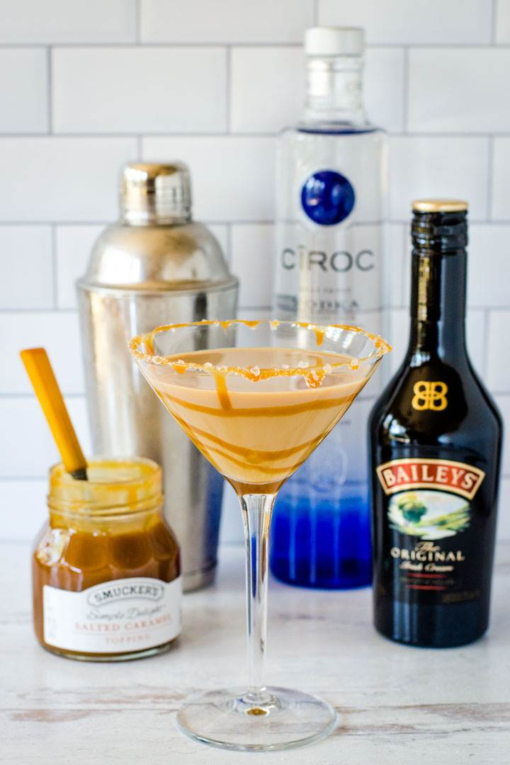 Salted caramel martini with Baileys, vodka, caramel, cocktail shaker