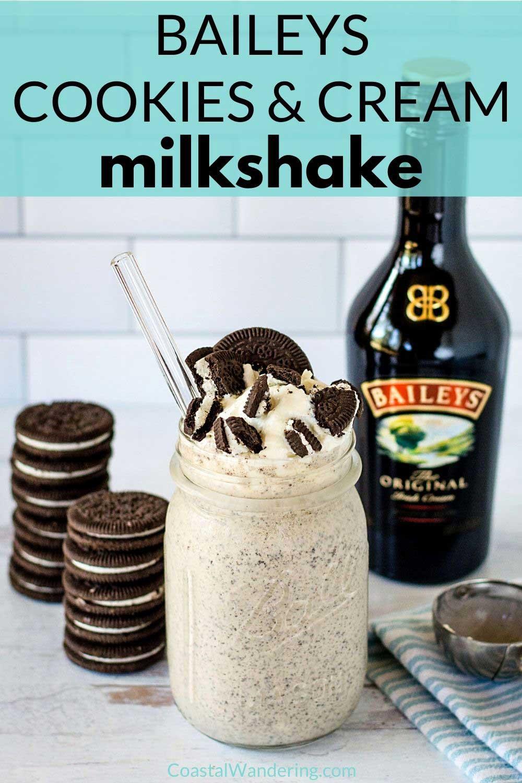 Baileys Cookies and Cream Milkshake - Easy 3 Ingredient Recipe
