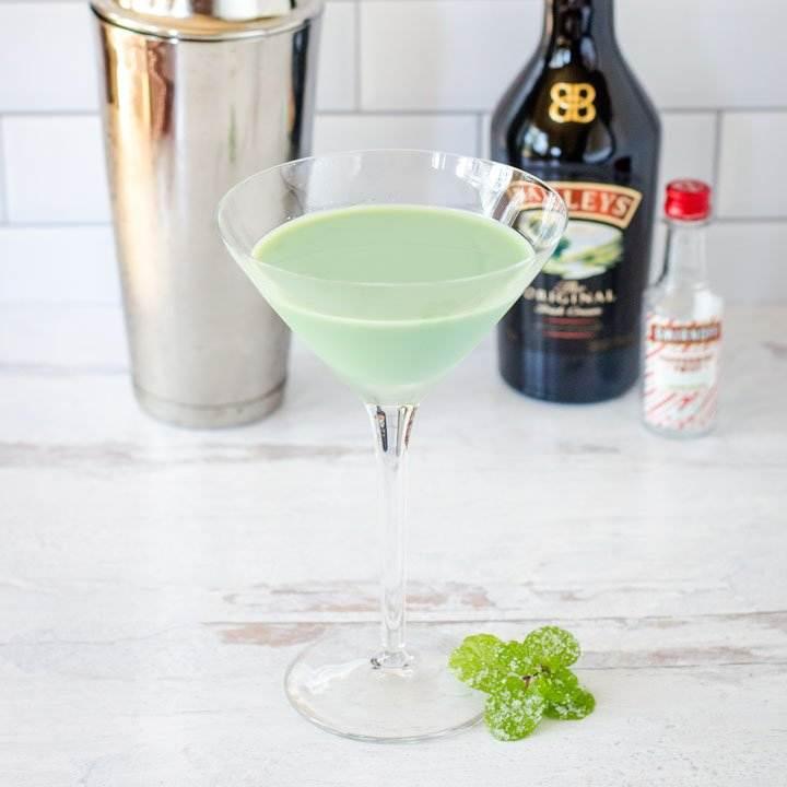 Shamrock martini with Baileys, vodka, mint