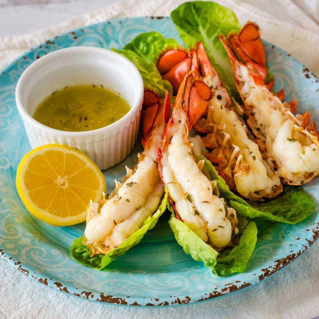 Air fryer lobster tails with herb garlic butter and lemon