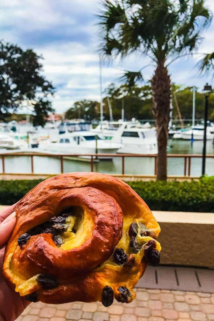 Breakfast pastry and Hilton Head Shelter Cove Marina