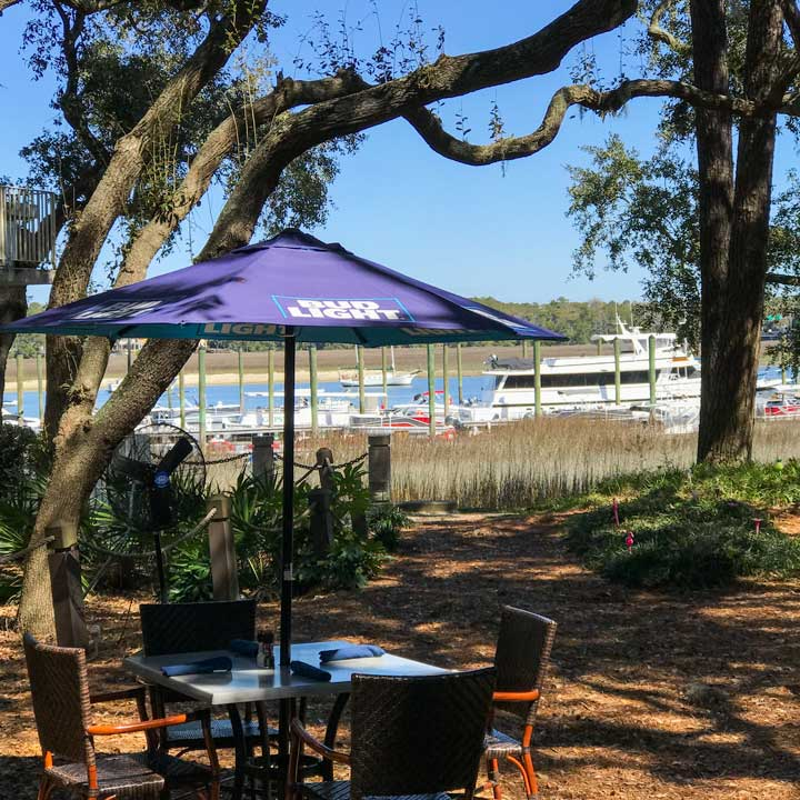 Water view from Black Marlin outdoor tables