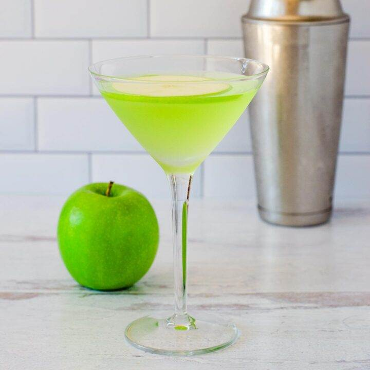 Green apple martini cocktail
