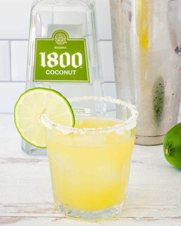 1800 coconut tequila, margarita with salt and lime, cocktail shaker