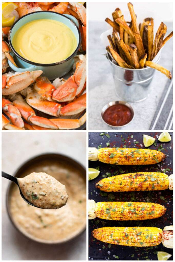 Crab legs with dipping sauces, french fries, corn on the cob
