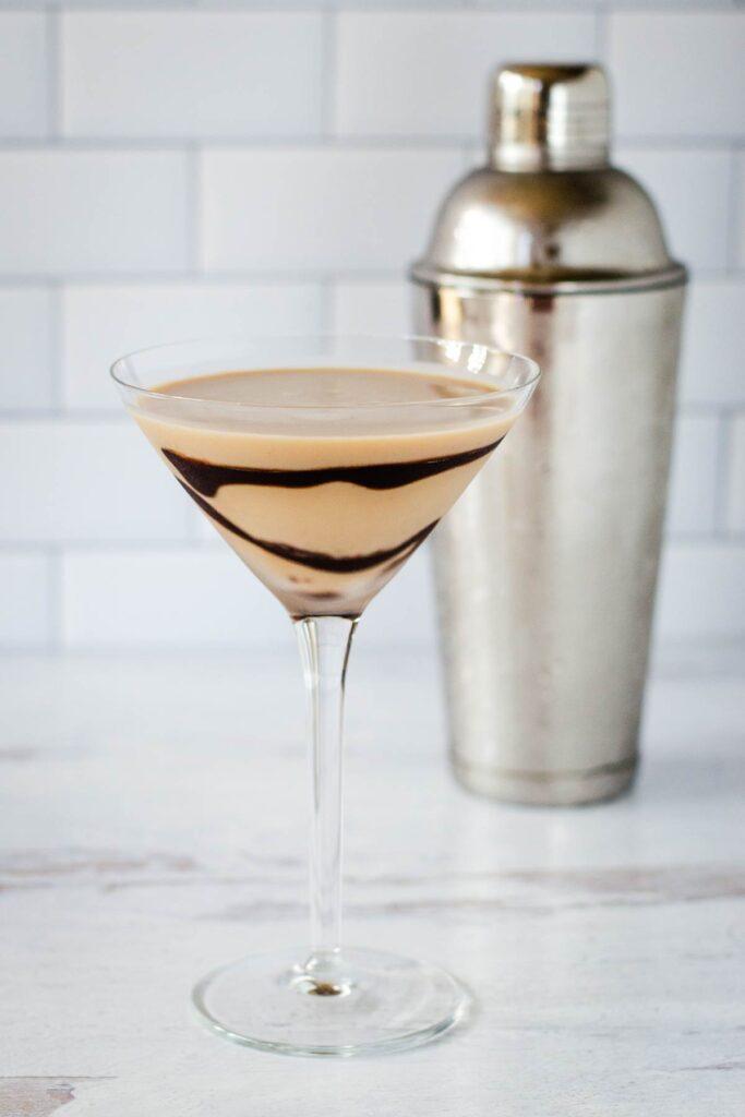 Tiramisu martini with cocktail shaker