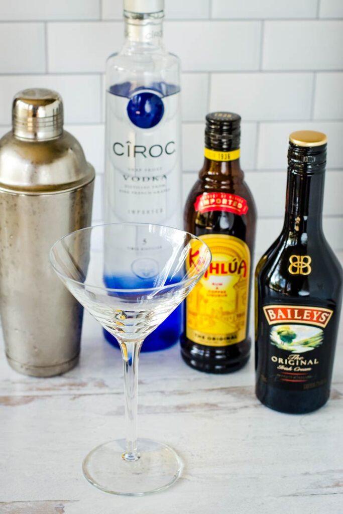 Baileys, Kahlua, Ciroc Vodka, cocktail shaker and glass
