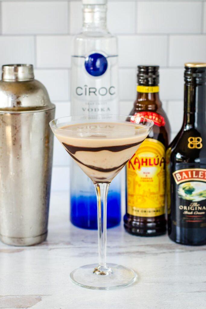 Tiramisu martini, cocktail shaker, vodka, coffee liqueur, Irish cream, Baileys