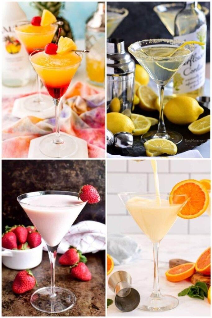 Lemon drop, orange creamsicle, strawberry and bikini martinis
