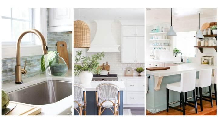 Kitchen sink, range hood, island