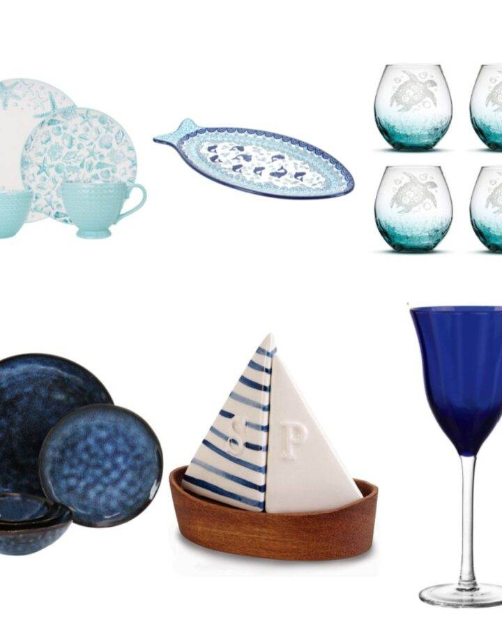 Beach themed dishes, glasses, platter, salt & pepper set