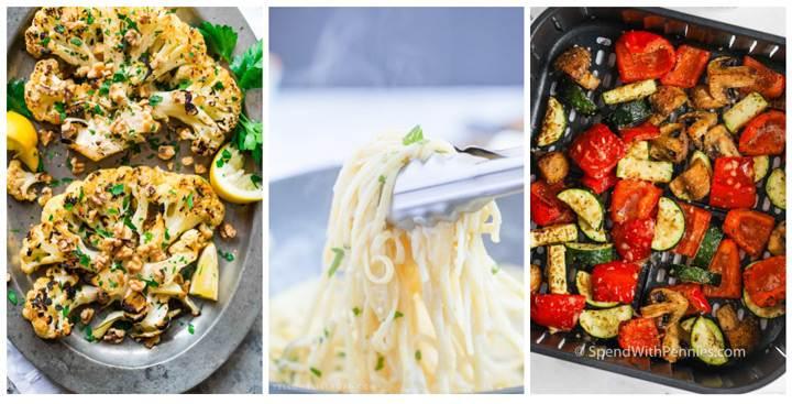 Cauliflower steaks, pasta, vegetables