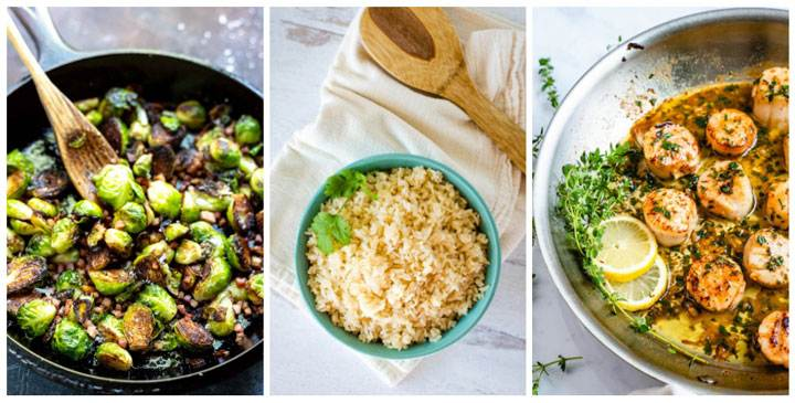 Brussels sprouts, rice, scallops