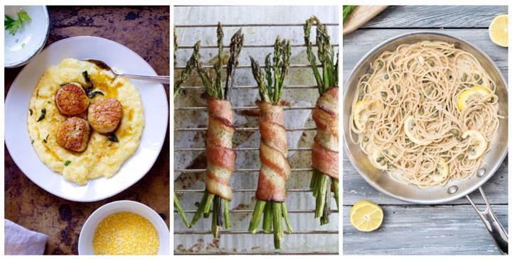 Polenta with scallops, bacon asparagus, angel hair pasta